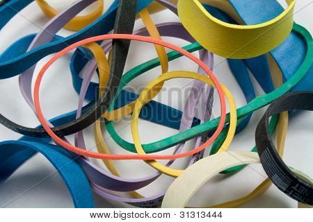 Assortment of Colorful Rubber Bands
