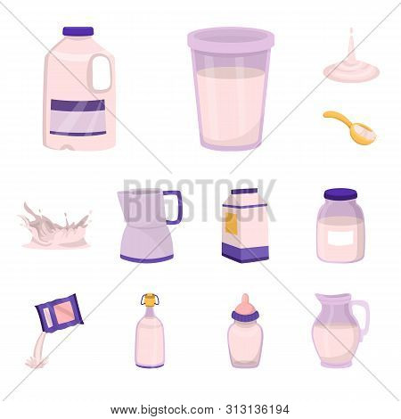 Isolated Object Of Food And Dairy Sign. Collection Of Food And Calcium Vector Icon For Stock.