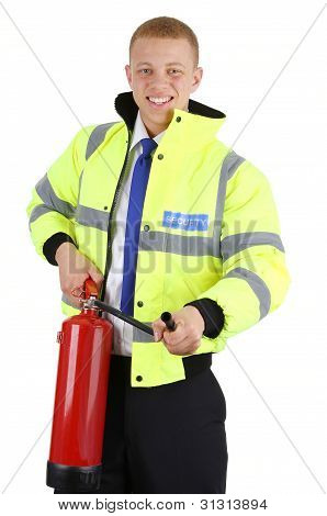Security Guard With A Fire Extinguisher