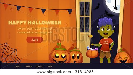 Happy Halloween  Children In Scary Costume Funny And Cute Kid With Big Cartoon Eyes. Template For We