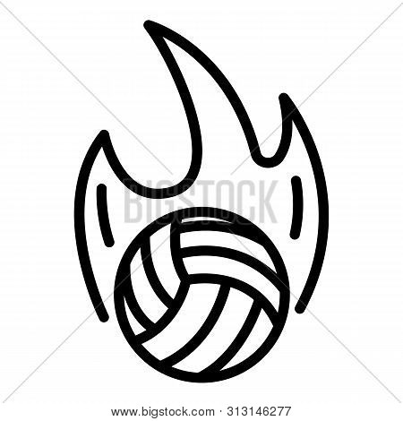 Volleyball Ball On Fire Icon. Outline Volleyball Ball On Fire Icon For Web Design Isolated On White