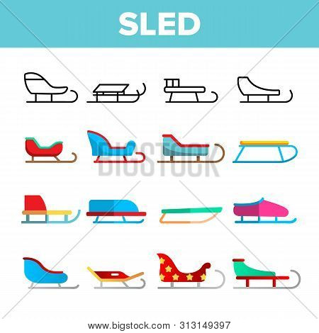 Sled, Winter Activity Vector Linear Icons Set. Differently Shaped And Colored Sled. Sleigh Sport, Wi
