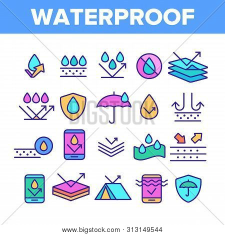 Color Waterproof, Water Resistant Materials Vector Linear Icons Set. Waterproof, Surface Protection