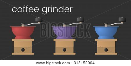 Antique Style Manual Old Coffee Grinder. Colored Hand Crank Coffee Grinder. Vector Illustration For