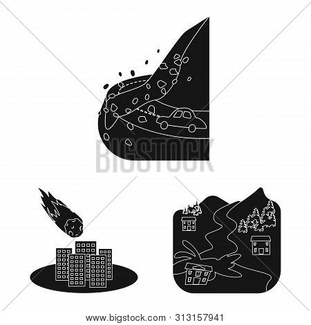 Isolated Object Of Calamity And Crash Symbol. Collection Of Calamity And Disaster Vector Icon For St