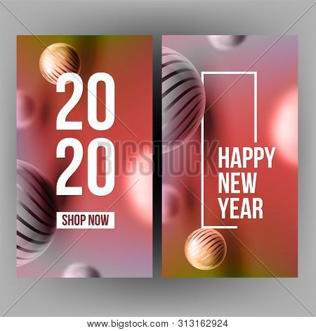 Xmas Invitation Post Card Celebrating 2020 Vector. Realistic Striped Spherule And Number 2020 Two Th