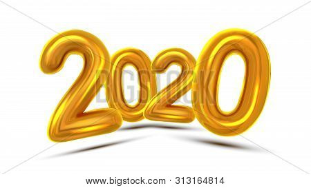 2020 New Year Greeting Card Concept Banner Vector. Glossy Yellow Air Blown Two Thousand Twenty 2020