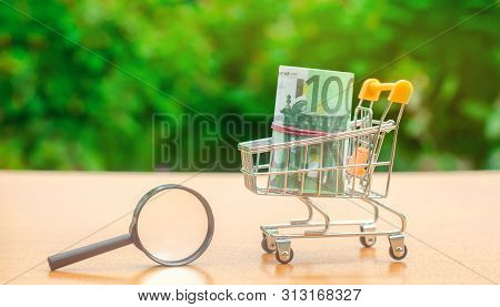 Euro Banknotes In A Shopping Trolley And Magnifying Glass. The Concept Of Finding Sources Of Investm