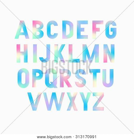 Vector Bold Condensed Grotesque Font With Cotton Candy Fill. Uppercase Letters Only