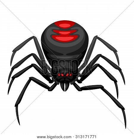 Black Widow Spider Icon. Illustration For Halloween Holiday.