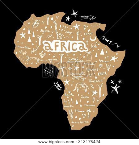 Vector Handdrawn Stylized Map Of Africa. Travel Doodle Illustration With Landmarks And Animals