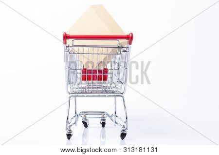 Rear View Of A Shopping Trolley With Parcel, Isolated On White Background