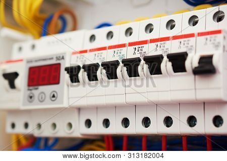 Fuse Box, Power Supply Circuit Breakers. Voltage Switchboard With Electric Automatic. Control Panel