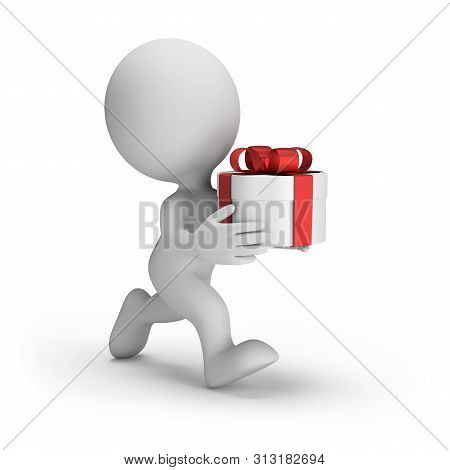 3d Man With A Gift Box In A Hurry For The Holiday. 3d Image. White Background.