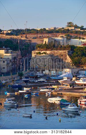 View On Malta Bay Between Kalkara And Birgu With Yahts At Early Morning