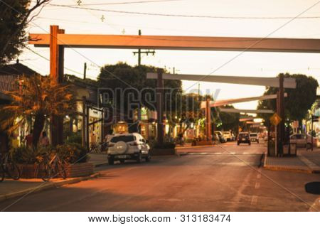 Blurred Photo Of The Main Street Of The Downtown Of Bonito Ms, Brazil. Coronel Pilad Rebua Street At