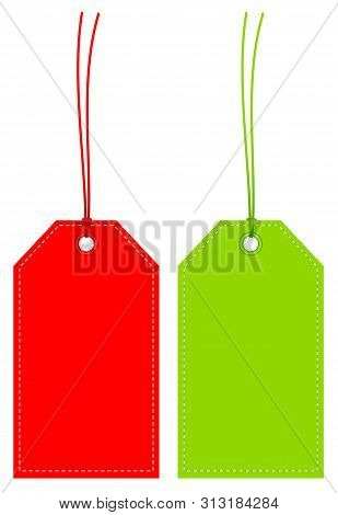 Set Of Two Angled Hangtags Red And Green With Seam