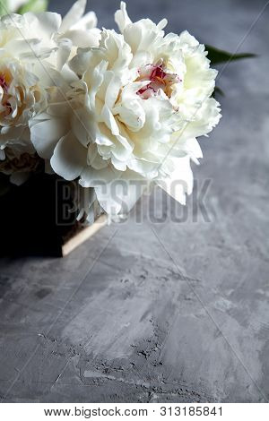 Peonies In Wooden Box. A Retro Peonies In Wooden Box. A Retro