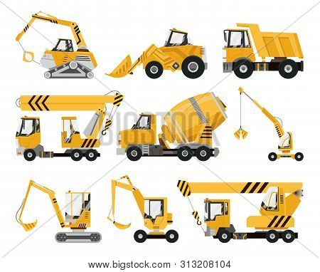 Big Set Of Construction Equipment. Special Machines For The Construction Work. Forklifts, Cranes, Ex