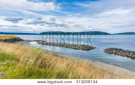 A View Of The Puget Sound Area From Dune Peninsula Park In Tacoma, Washington.