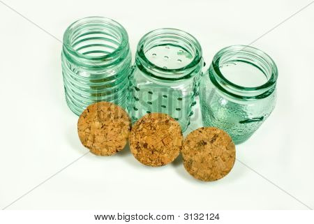 Green Glass Spice Jars