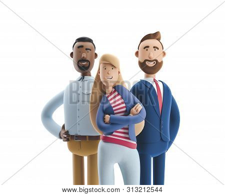 Group Of Happy Cartoon Characters Standing On A White Background. Stanley, Emma And Billy. 3d Illust