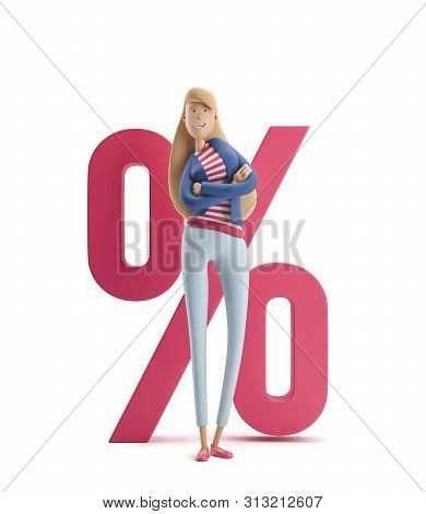 Young Business Woman Emma Standing With Big Percent Sign On A White Background. 3d Illustration