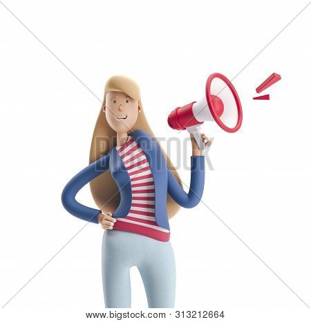 Young Business Woman Emma Standing With Speaker On A White Background. 3d Illustration