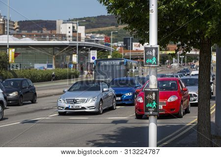 Editorial Swansea, Uk - July 23, 2019: Road Safety Crossing Display For Pedestrians And Cyclists On