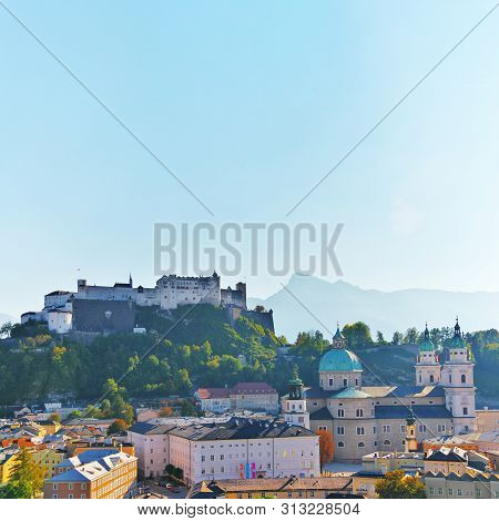 Aerial View Of The Historic City Of Salzburg With Festung Hohensalzburg Fortress And Salzburger Cath