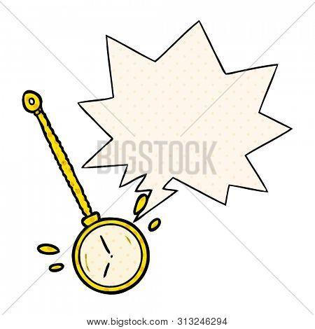 cartoon swinging gold hypnotist watch with speech bubble in comic book style