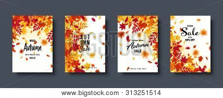 Autumn Falling Leaves. Banner Set. Nature Background With Red, Orange, Yellow Foliage. Flying Leaf.