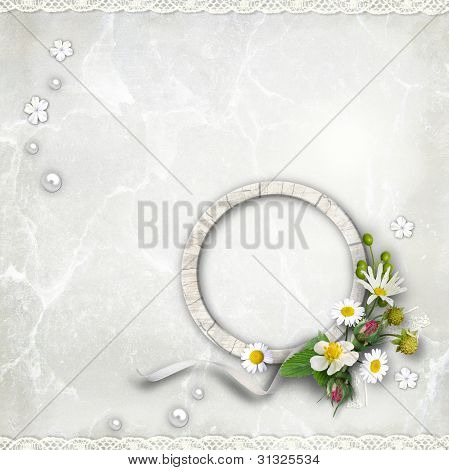 Round Wooden Photo Framework With Flowers