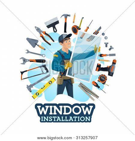 Window Installer Profession, Work Tools, Installation Of Windows At Homes, Offices. Vector Instrumen