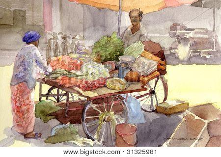 vegetable seller in watercolor