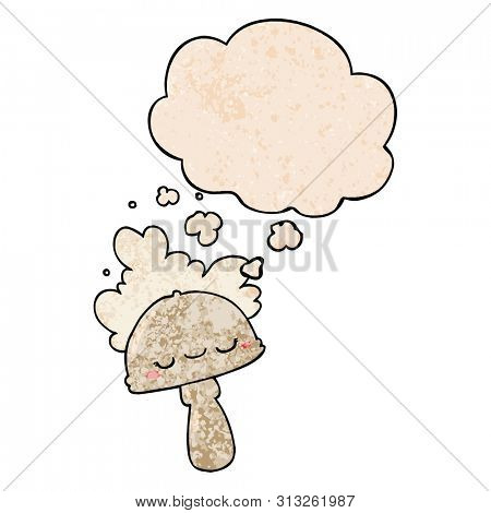 cartoon mushroom with spoor cloud with thought bubble in grunge texture style