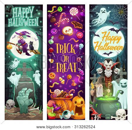 Happy Halloween Holiday Monsters, Pumpkins And Witch Ghosts. Vector Halloween Trick Or Treat Party S