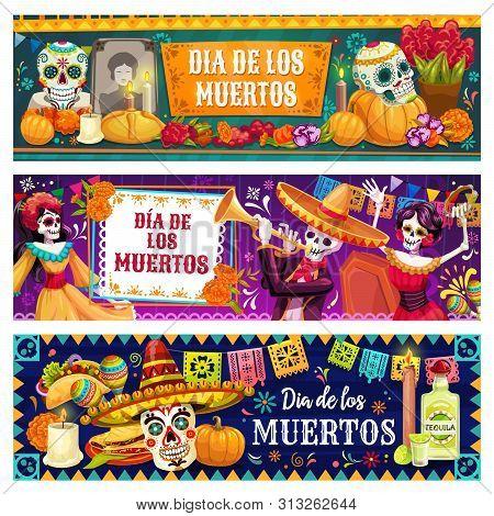 Dia De Los Muertos Skulls And Skeletons Vector Design Of Mexican Day Of Dead Holiday. Catrina, Maria