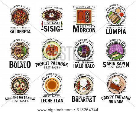 Filipino Cuisine Food Isolated Logos. Vector Kaldereta And Sisig, Morcon Lumpia, Bulalo And Pancit P