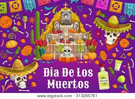 Day Of Dead In Mexico, Altar With Photos Of Gone People. Vector Dia De Los Muertos Mexican National
