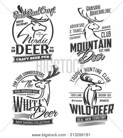Deer Animals Silhouettes, Hunting And Adventure Club, Craft Bar And Beer Pub Isolated Monochrome Log