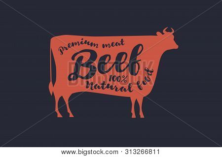 Image Of A Red Silhouette Of A Cow With The Inscription. Farm Animal With Sample Text. Emblem For Bu