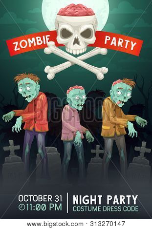 Zombie Party Vector Invitation Of Halloween Holiday Horror Night Celebration Design. Living Dead Mon