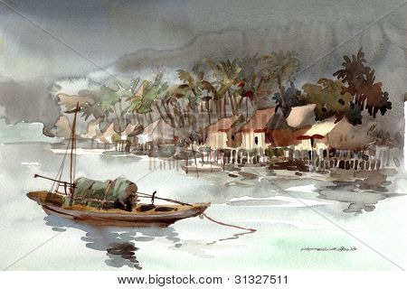 fishing village watercolor