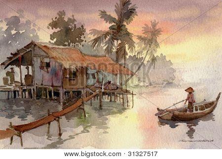 houses on stilt watercolor