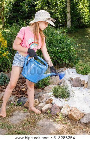 Little girl helping parents in a summer garden watering miniature Juniper tree at alpine rock garden learning to do gardening work