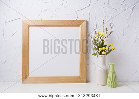Wooden Square Picture Frame Mockup With Yellow Decorated Branches And Green Vase. Empty Frame Mock U