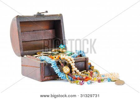 The Jewels In The Chest On A White Background
