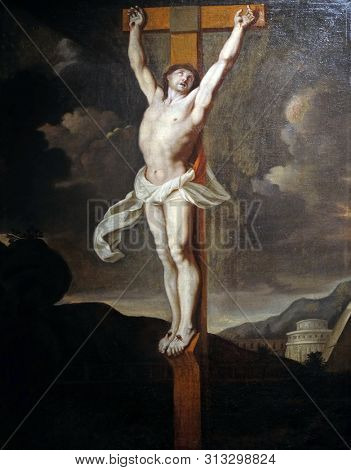 ZAGREB, CROATIA - APRIL 07: Crucifixion, French school, folower of Charles le Brun, oil on canvas, 17 century, the Passion in Art from Mimara Museum in Zagreb, Croatia, on April 07, 2017.