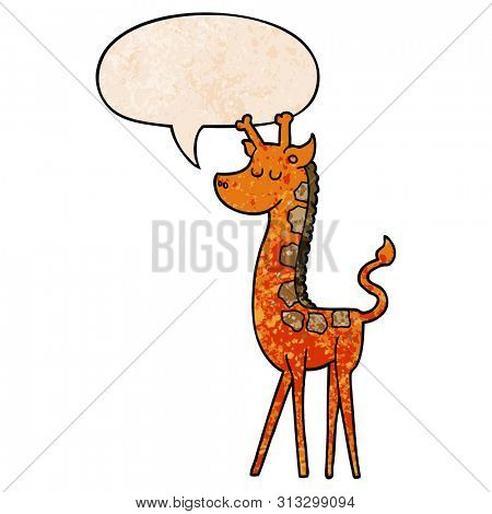 cartoon giraffe with speech bubble in retro texture style